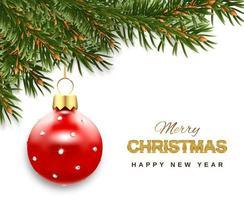 banderoll med grenar och röd julbollprydnad vektor