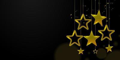 goldener Stern mit Konfetti-Hintergrund vektor