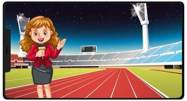 Sportnachrichten auf dem Smartphone-Bildschirm vektor