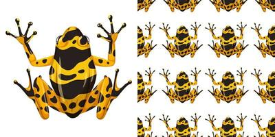 gelb gebänderter Pfeilgiftfrosch und Muster vektor