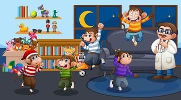 fem små apor som hoppar i vardagsrummet