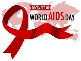 Welt hilft Tag Banner mit rotem Band vektor