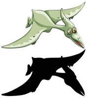 Satz Dinosaurier-Zeichentrickfigur und Silhouette