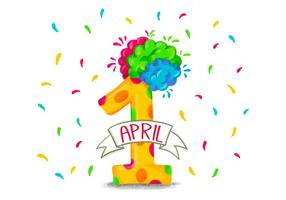 Bunte lustige Nummer Eins für Aprilscherzes Tages vektor