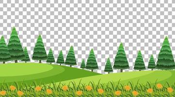 Naturparkszene mit Blumen und Feldlandschaft vektor