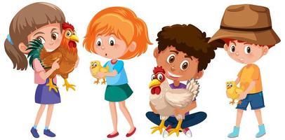 uppsättning olika barn som håller kyckling isolerad