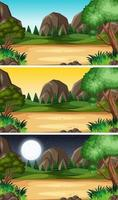 Landschaftsszene zu verschiedenen Tageszeiten vektor