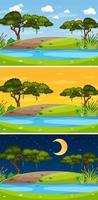 landskapsscen vid olika tider på dagen vektor