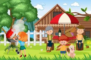 picknick med lycklig familj i trädgården