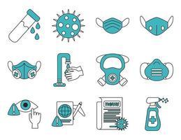 coronavirus och virusinfektion ikonuppsättning