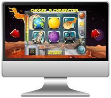 rymdspel på datorskärmen