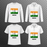 Satz von verschiedenen männlichen Hemden mit Indien-Flaggenbildschirm vektor