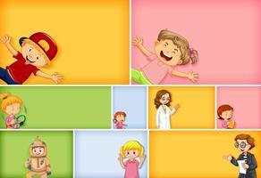 uppsättning barnkaraktärer på olika färgbakgrund vektor