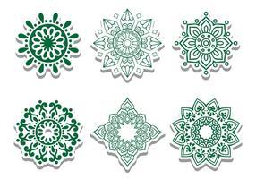 Grün Arabian Kreis Vector Ornaments