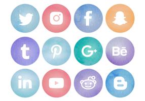 Gratis akvarell Social Media Logos vektor