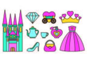 Inställda Princesa ikoner vektor