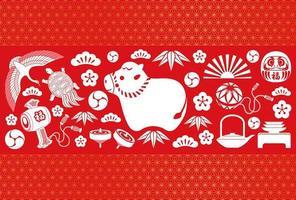 året för oxens nya år gratulationskort vektor