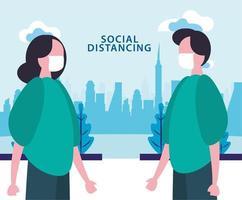 social distansera affisch med maskerade människor utomhus