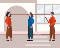 människor som använder ansiktsmasker medan de socialt distanserar sig från covid19