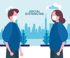 par använder ansiktsmasker medan socialt distanserar sig från covid19