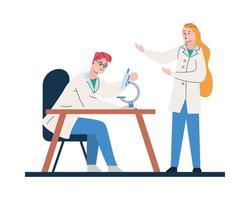 unga läkare par med mikroskop vektor