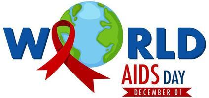 World Aids Day banner med rött band på jorden