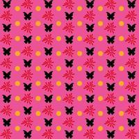 Schmetterlingsmuster mit Blumen- und Punktart auf Rosa vektor