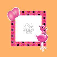fotoram med tecknad flamingo och ballonger