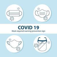 Gesichtsmasken-Set für den Coronavirus-Schutz vektor