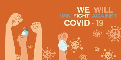 erhobene Fäuste mit Maske und Desinfektionsmittel zwischen Coronavirus-Zellen vektor