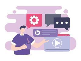 onlineutbildning, studentchatt och videospelare vektor