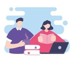 Online-Training, Mann und Frau lesen Buch und Laptop