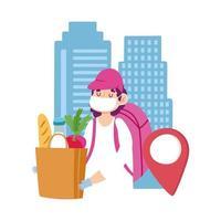 Kuriermann mit Einkaufstüte und Kisten für Kunden vektor