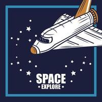 Erforschen Sie die Retro-Komposition des Weltraums mit einem Raumschiff vektor