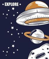 Entdecken Sie den Weltraum und das Retro-Poster der Galaxie vektor