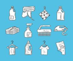 tvättelement och ikoner för kläder vektor