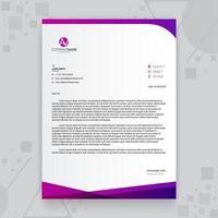 kreative Geschäftsbriefkopfschablone mit lila Farbverlauf