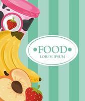 Lebensmittelvorlage Banner mit Früchten und Eis