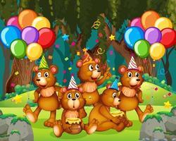björngrupp i partytema i skogen