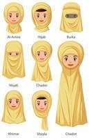 typer av islamiska traditionella kvinnliga slöjor
