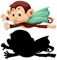 Affe mit seiner Silhouette