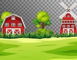 gård med röd ladugård och väderkvarn vektor
