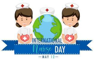 Internationales Krankenschwestertagdesign mit niedlichen Krankenschwestern vektor