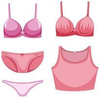 isolerade söta tecknade kvinnliga underkläder vektor