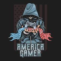 Spieler hält Joystick und amerikanische Flagge