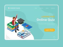 Online-Bildungsvorlage mit Online-Quiz-Landingpage vektor