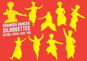 Bhangra Tänzer Silhouetten vektor