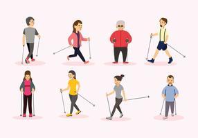 Nordic-Walking-Vektor Menschen