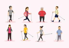Nordic-Walking-Vektor Menschen vektor