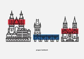 Praga landmärke vektor ikon pack